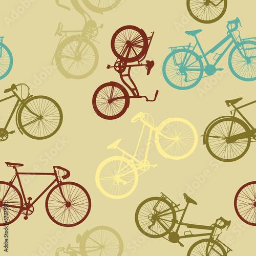 Vintage style bike seamless pattern - 57075611