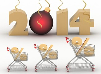 concept of new-year sales. 3d illustration on white