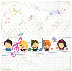 Music background with happy children