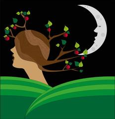 paesaggio surreale con donna che si trasforma in albero