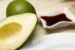 Sliced avocado with soy sauce