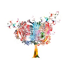 Colorful vector tree background with hummingbirds