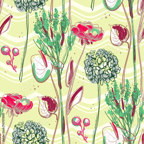 Bright graphic pattern with flowers.
