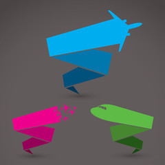 Airplane origami banners