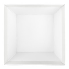 Top view of empty square box on white with clipping path