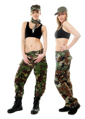 Two women in military clothes, army girls