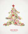 Merry Christmas elements decoration tree.