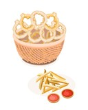 Pile of French Fries and Onion Ring in A Brown Basket