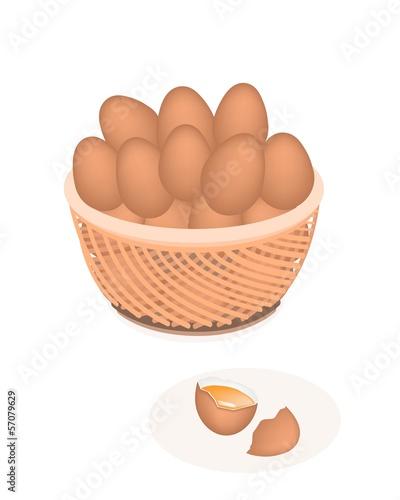 Fresh Eggs in Brown Basket