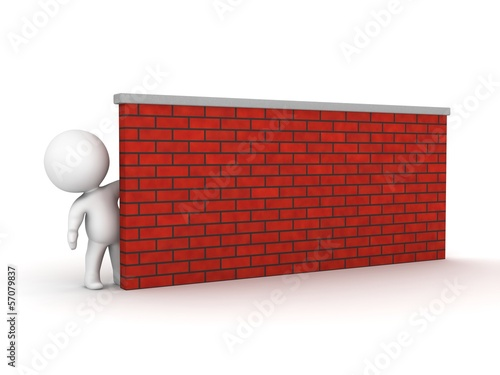 3D Man Leaning Looking from behind a brick wall