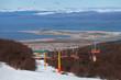 Ski lift in Ushuaia, Tierra del Fuego.  Ushuaia, southernmost ci