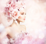 Fashion Beauty Model Girl with Flowers Hair. Bride - 57080233