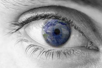 Planet Earth in human eye