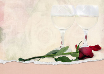 red rose and wine glasses