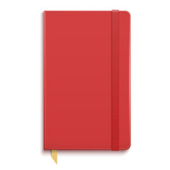 Red copybook with elastic band.