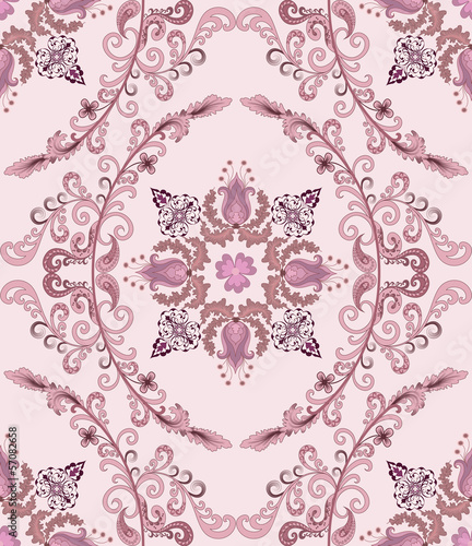 seamless pattern with mauve bells in the deciduous oval