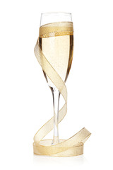 Champagne glass with golden ribbon