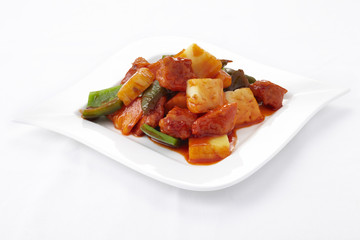 Sweet and sour sauce fried with meat