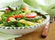 penne pasta with tomatoes and asparagus, fresh spring food