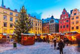 Fototapety Christmas fair in Stockholm, Sweden