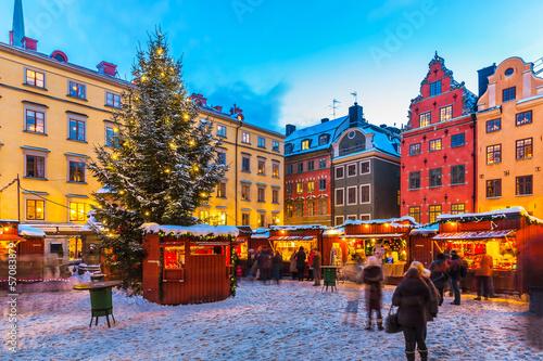 Leinwanddruck Bild Christmas fair in Stockholm, Sweden
