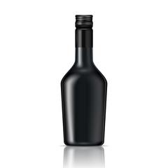 Black glass liqueur bottle with screw cap.