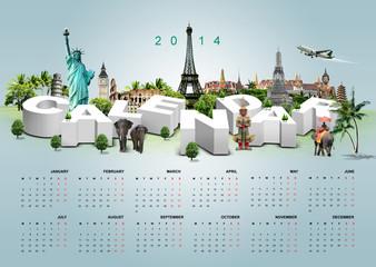 3D Illustration of Calendar on travel background