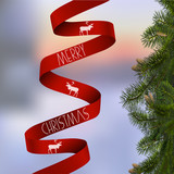 Christmas card with with fir branches and red ribbon