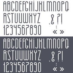Black and white alphabet,numbers and punctuation marks