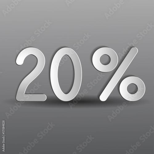 бумажные двадцать процентов на сером фоне