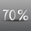 бумажные семьдесят процентов на сером фоне