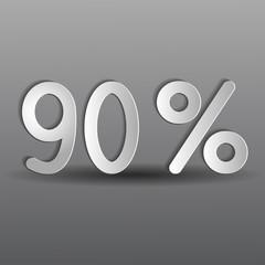 бумажные девяносто процентов на сером фоне