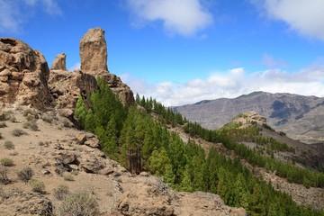 Roque Nublo peak, Gran Canaria mountain landscape.