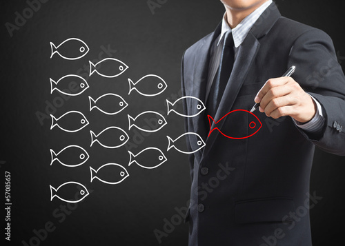 Businessman drawing fishes in group leadership concept