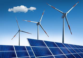 3 Windräder mit Solarpanels