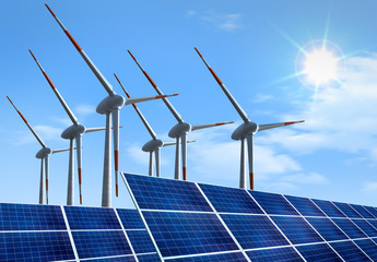 Windräder mit Solaranlage