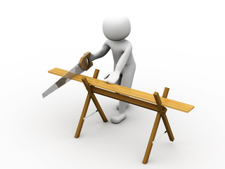 3d person using a saw