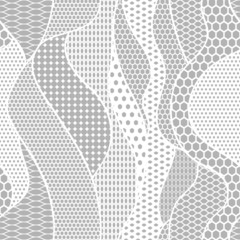 White lace vector fabric seamless pattern with lines and waves