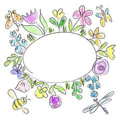 Summer floral frame  doodle