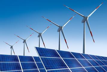 5 Windräder mit Solarpanels