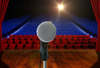 Microphone on stage Facing Empty Seats