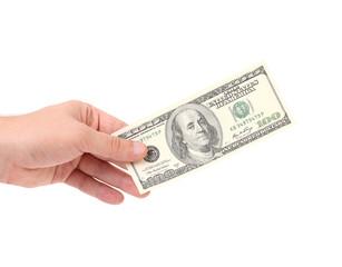Male hand holding 100 Dollar bill.