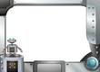 A gray metallic frame with a robot
