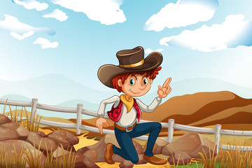 A young explorer at the hilltop near the rocks