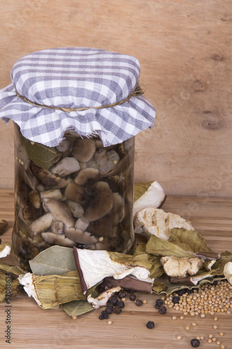 dried and marinated mushrooms