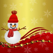 bright beautiful christmas background with a snow man