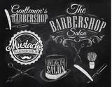 Set Barbershop, scissors, shaving brush, razor, cylinder, in a r
