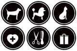 set isolated black icons for pet services