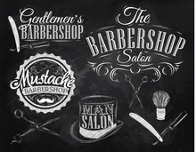Réglez Barbershop, ciseaux, brosse de rasage, rasoir, bouteille, en ar
