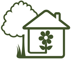 landscaping symbol - tree, house, flower and home garden